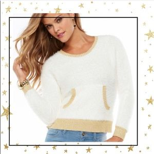 Juicy Couture fuzzy White sweater gold trim (C3)